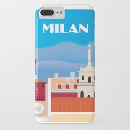 Milan, Italy - Skyline Illustration by Loose Petals iPhone Case
