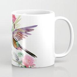 Flying Hummingbird and Red Flowers Coffee Mug