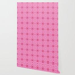 Bubblegum Pink Flower Cross Design Wallpaper