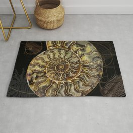 Ammonite Trilobite Fibonacci Spiral Rug