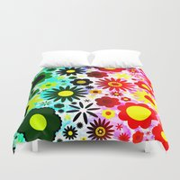 60s Duvet Covers featuring Psychedelic 60s Red Green Flower Pattern by Hippy Gift Shop