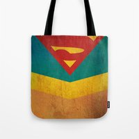 supergirl Tote Bags featuring Supergirl by Fries Frame