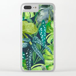 Botanical Leaves Clear iPhone Case