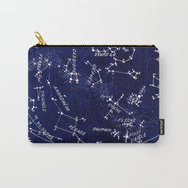 French October Star Map in Deep Navy & Black, Astronomy, Constellation, Celestial Carry-All Pouch