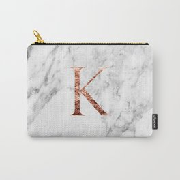 Monogram rose gold marble K Carry-All Pouch