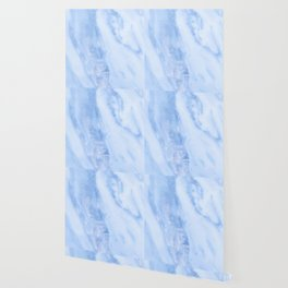 Shimmery Pure Cerulean Blue Marble Metallic Wallpaper