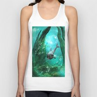 swimming Tank Tops featuring Swimming dolphin by nicky2342