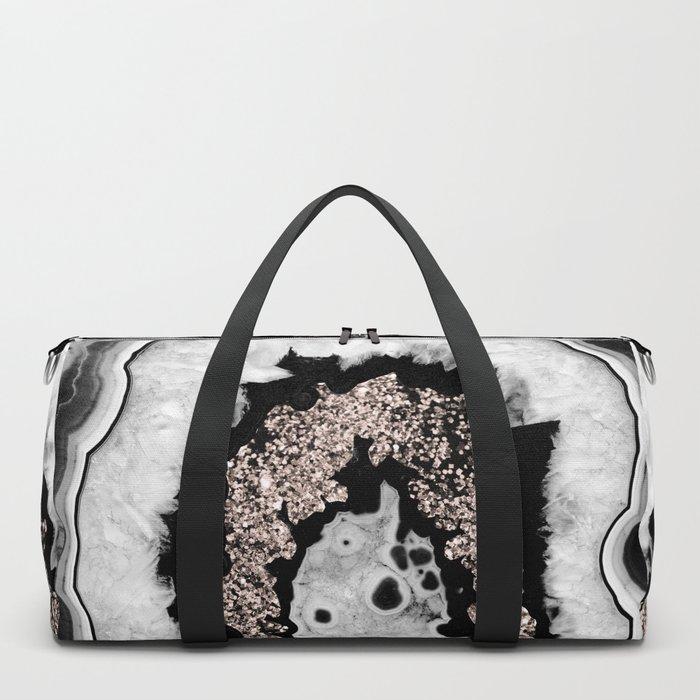 Gray Black White Agate with Rose Gold Glitter #1 #gem #decor #art #society6 Duffle Bag