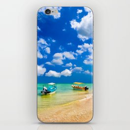Colorful Little Boats And a Beautiful Tropical Beach iPhone Skin
