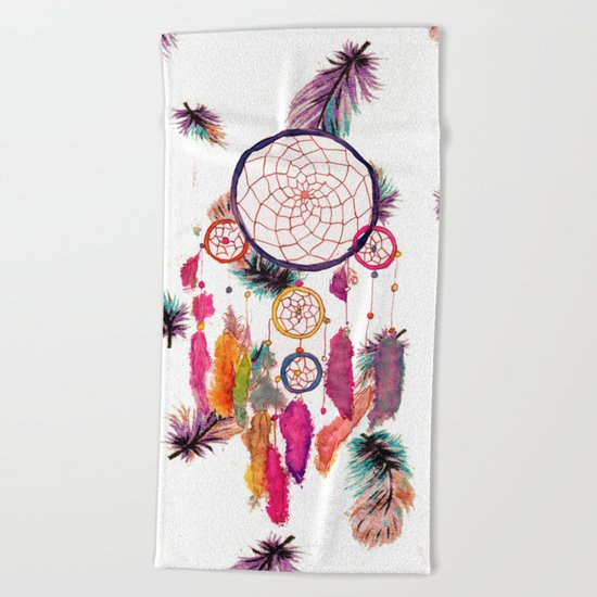 Hipster Watercolor Dreamcatcher Feathers Pattern Beach Towel