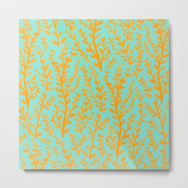 Mint Green and Yellow Leaves Gouache Pattern Metal Print