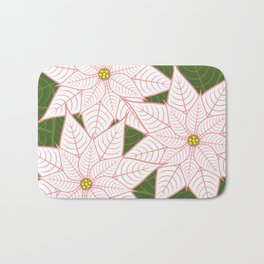 White and Pink Poinsettias, Christmas Holiday Flowers Bath Mat
