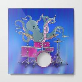 Octopus Playing Drums - Blue Metal Print