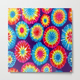 Tie dye circle round color rainbow red purple yellow blue pink orange Metal Print