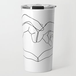 line art heart hands Travel Mug
