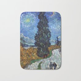 Vincent van Gogh - Road with Cypress and Star Bath Mat