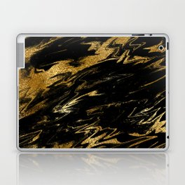 Luxury and sparkle gold glitter and black marble Laptop & iPad Skin