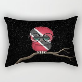Baby Owl with Glasses and Trinidadian Flag Rectangular Pillow