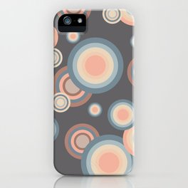Pastel Rainbow Bubbles Pattern on grey background iPhone Case