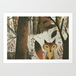 Fox And Trees Art Print