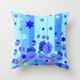 STARS & BLUE MORNING GLORIES RAIN POP ART Throw Pillow