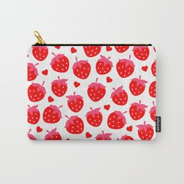 Valentine's Day Bright Red Strawberries and Hearts Pattern Carry-All Pouch