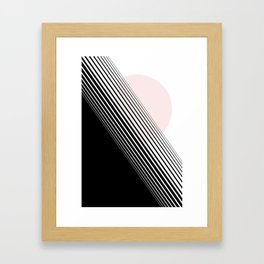 Rising Sun Minimal Japanese Abstract White Black Blush Pink Framed Art Print