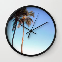 Florida Palm Trees and Blue Sky Wall Clock