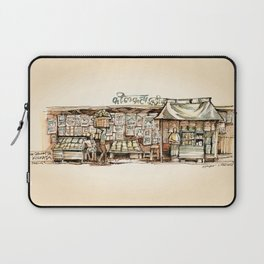 Kolkata India Sketch in Watercolor | City View | Street Newsstand | Calcutta West Bengal Laptop Sleeve