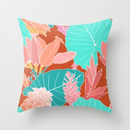 Coral Ginger Flowers + Elephant Ears in Rust Throw Pillow