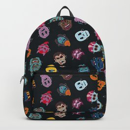 Halloween Mask Pattern Black Backpack