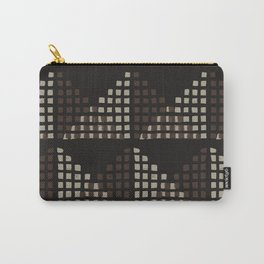 Layered Geometric Block Print in Chocolate Carry-All Pouch