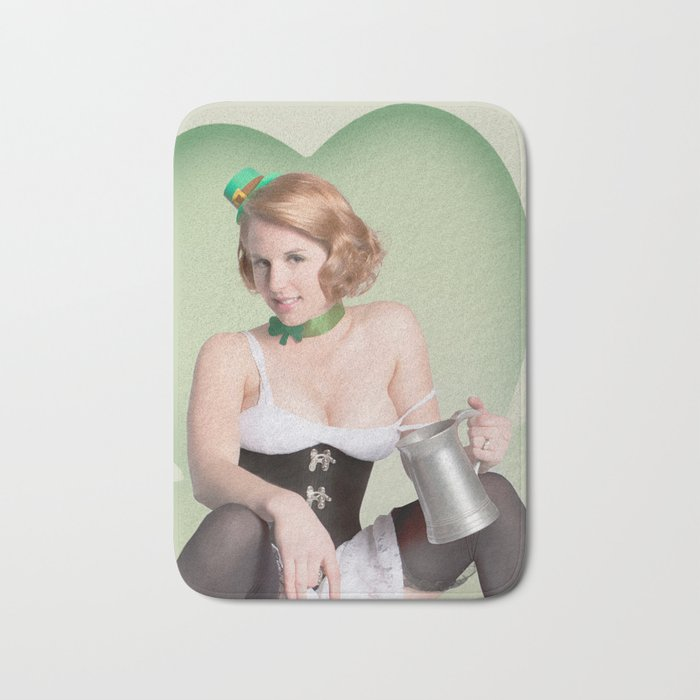 """""""Luck of the Irish"""" - The Playful Pinup - St. Patrick's Day Pinup Girl by Maxwell H. Johnson Bath Mat"""