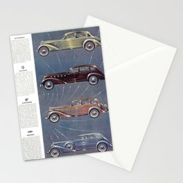 1935 Esquire New Year Car Preview No. 3: Duesenberg, Hupmobile, La Salle, Graham, Hudson, Lafayette Stationery Cards