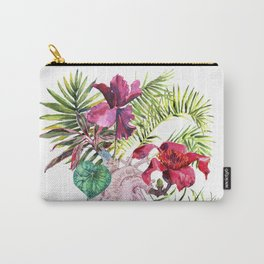Human heart with flowers, plant and leaf, watercolor Carry-All Pouch