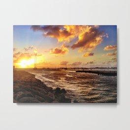 St. Maarten Sunset Yacht-Spotting  Metal Print