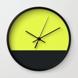 lime yellow and black grey Wall Clock