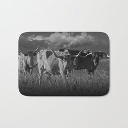 Texas Longhorn Steers under a Cloudy Sky in Black & White Bath Mat
