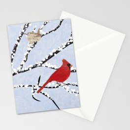 Winter Birds Southwest Virginia on Snow Covered Tree Limbs Stationery Cards
