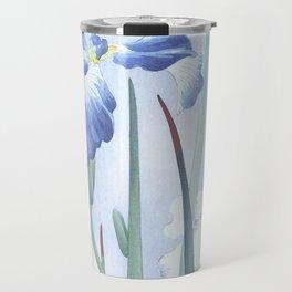 Bee And Blue Iris Flowers - Vintage Japanese Woodblock Print Art By Ohara koson Travel Mug