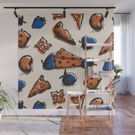 Retro colored pattern with cheese & strawberry Wall Mural