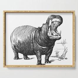 Hippopotamus black and white retro drawing Serving Tray