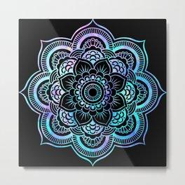 Galaxy Space Mandala Black Pink Lavender Aqua Metal Print