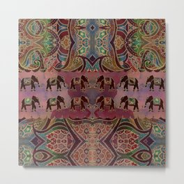 Floral Elephants #2 Metal Print