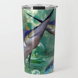 Awesome marlin with jellyfish Travel Mug
