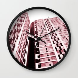 Burgundy Building Wall Clock