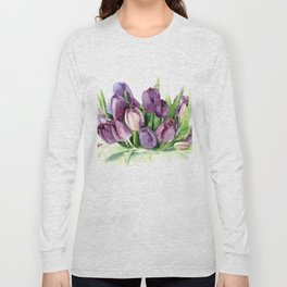 Watercolor bouquet of tulips Long Sleeve T-shirt