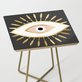 gold foil evil eye in blush Side Table