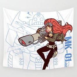 Köpke's Lasergirl - Enter the Robot! Wall Tapestry