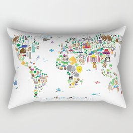 Animal Map of the World for children and kids Rectangular Pillow